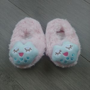 George Plush Faux Fur Baby Slippers, Pink/Blue